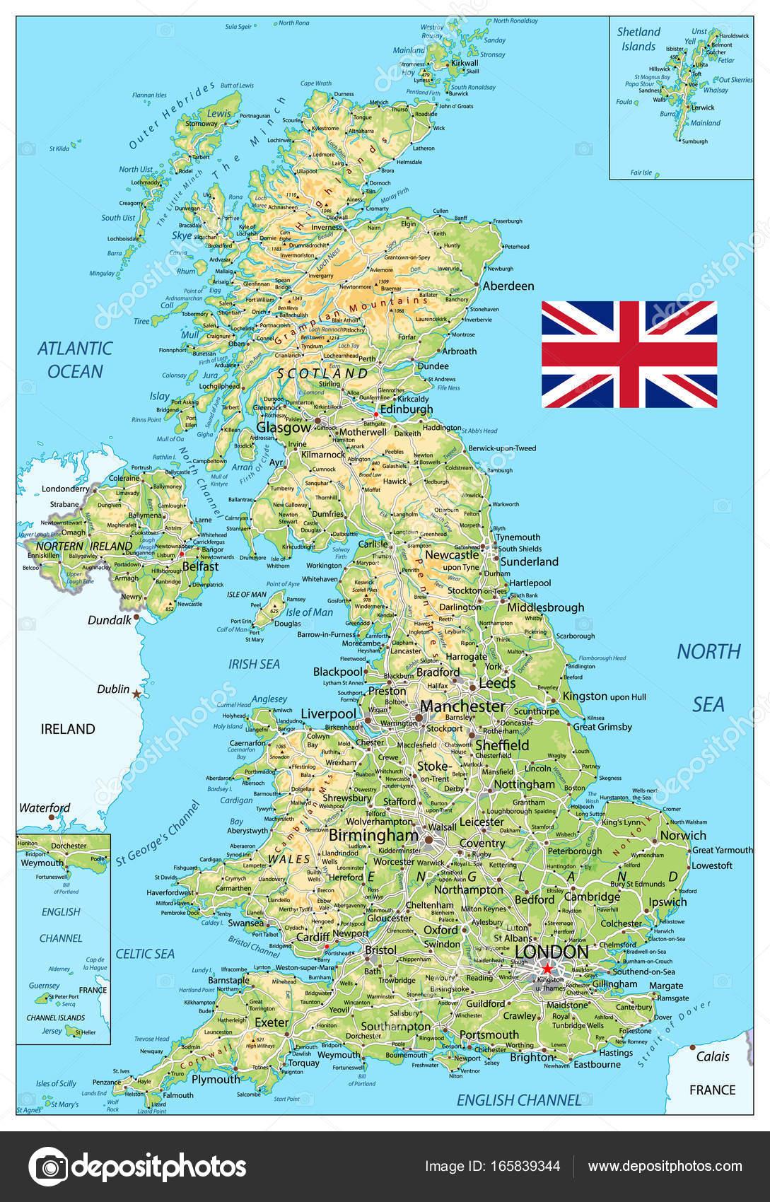 Cartina Fisica Del Regno Unito.Vettore Mappa Fisica Del Regno Unito Cartina Fisica Regno