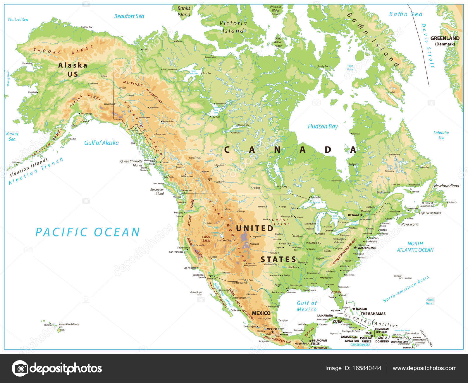 North America Physical Map Isolated on White — Stock Vector ...