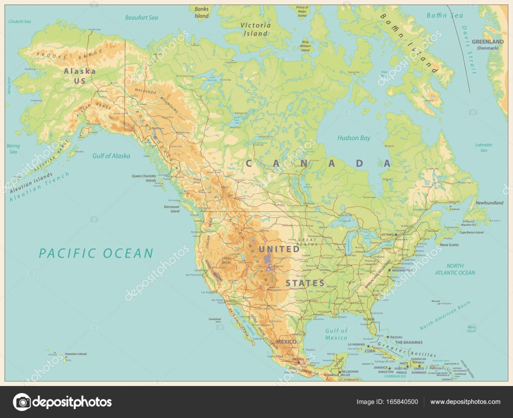 North America Physical Map. Vintage color — Stock Vector © Cartarium ...