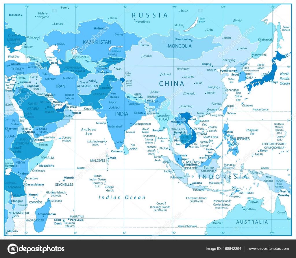 Südasien Karte.Südasien Karte In Den Farben Blau Stockvektor Cartarium 165842394