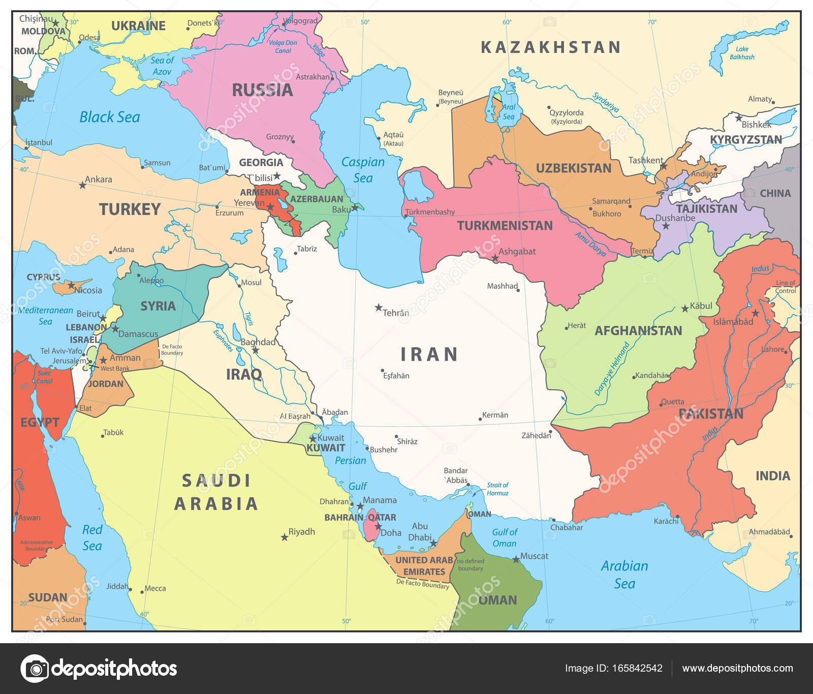 Southwest Asia Map — Stock Vector © Cartarium #165842542