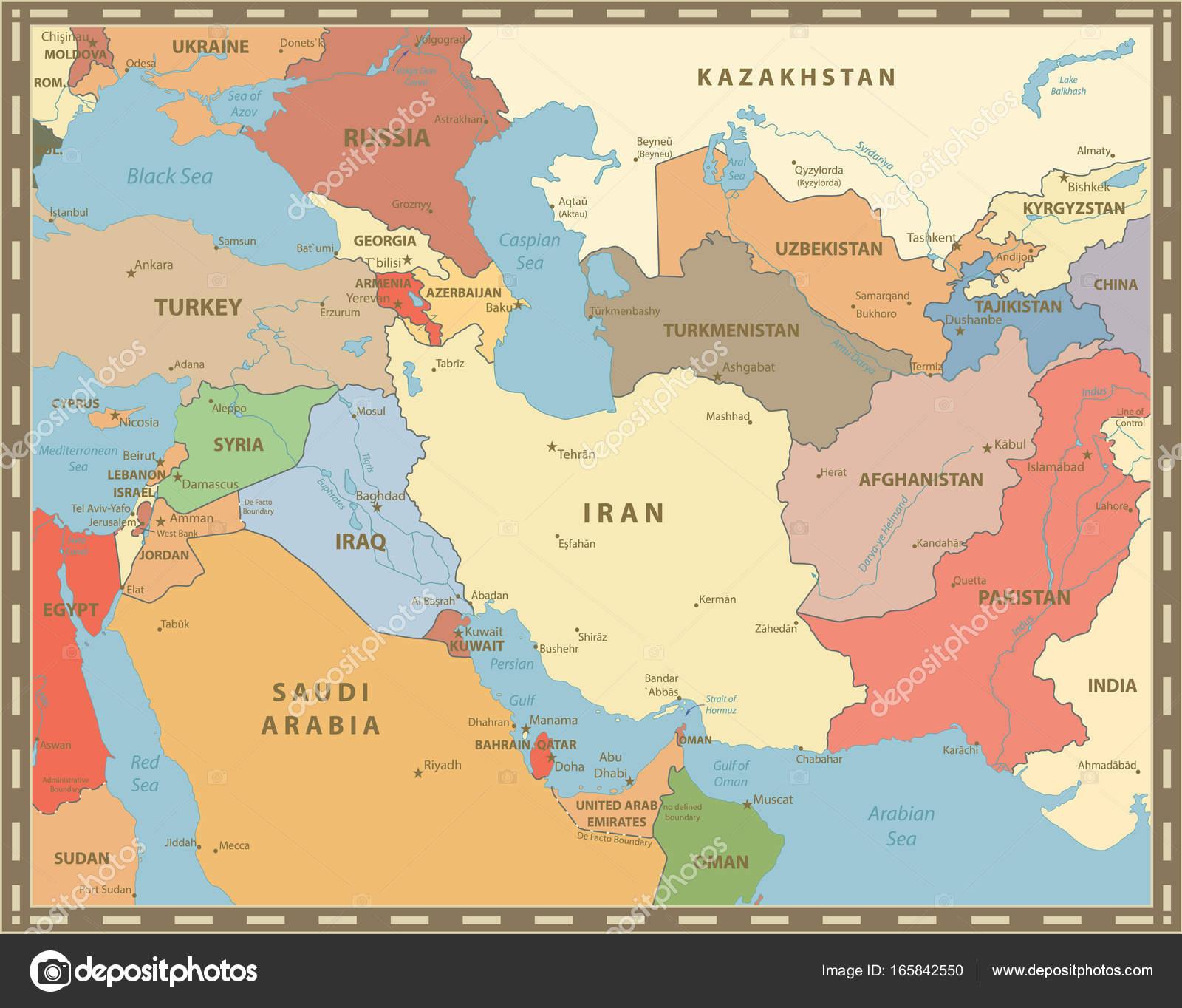 Southwest Asia Map Vintage Color — Stock Vector © Cartarium ...