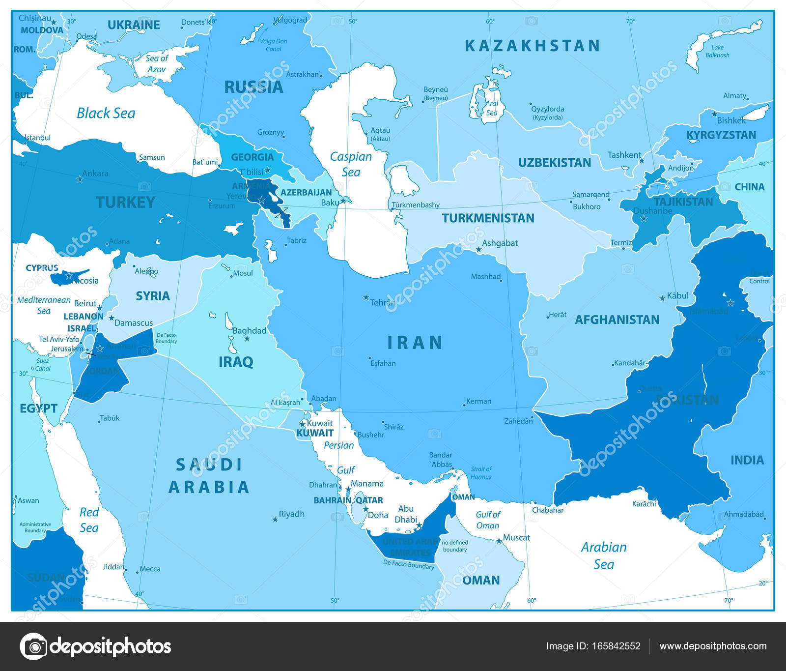 Southwest Asia Map in Colors of Blue — Stock Vector ...