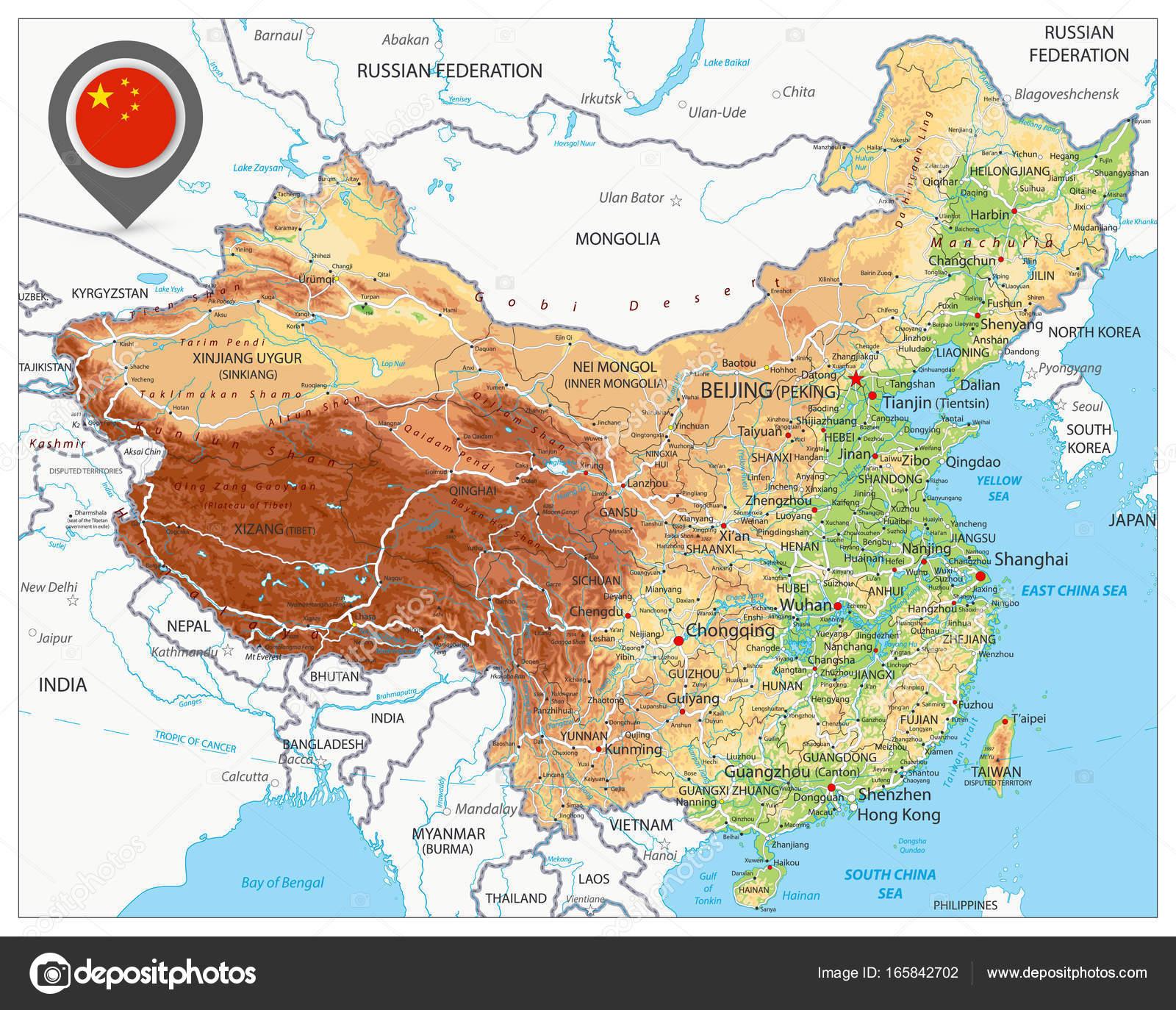 China Karte Physisch.Physische Karte Von China Stockvektor Cartarium 165842702