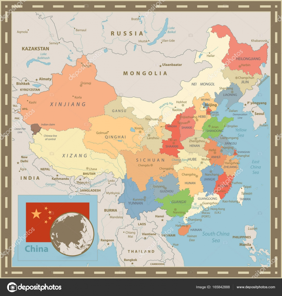 Chinese Political Map.China Political Map Vintage Color Stock Vector C Cartarium 165842888