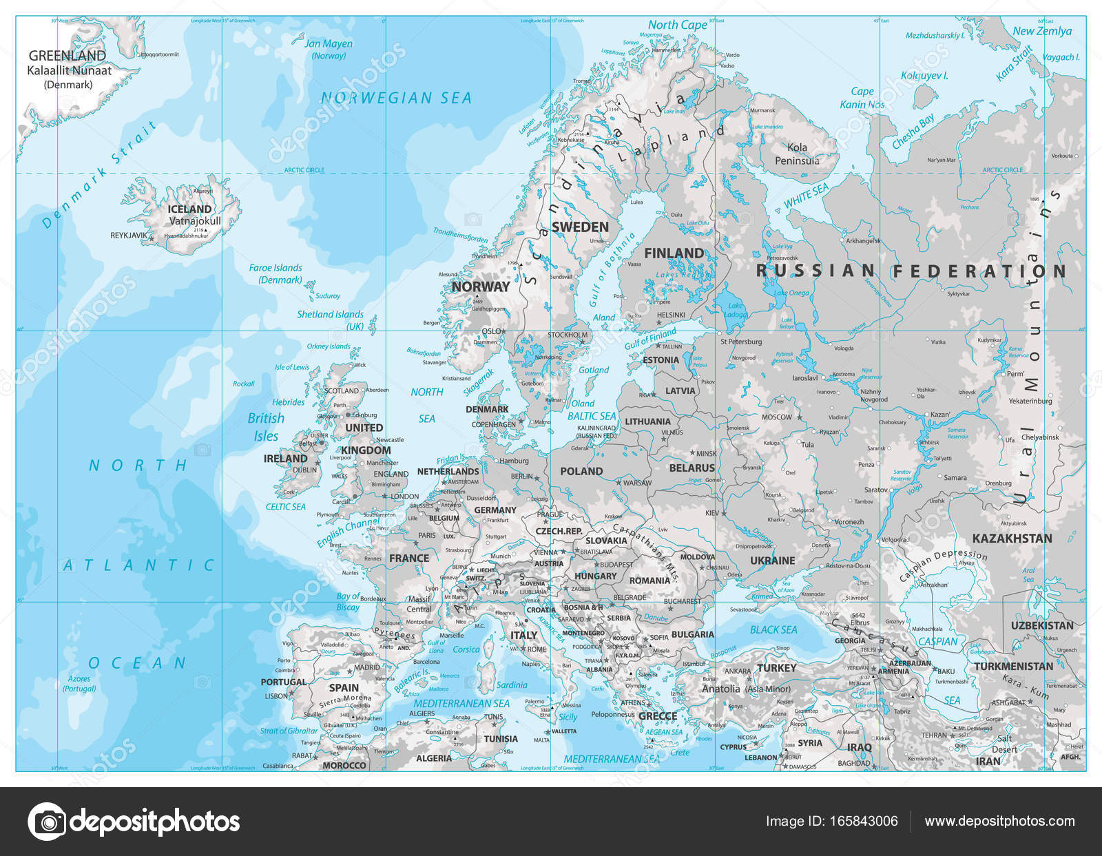 Europe Physical Map. White and Gray — Stock Vector ...