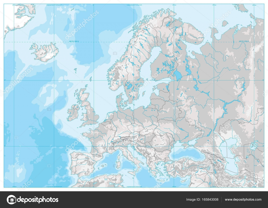 Europe Physical Map. White and Gray. No text — Stock Vector ...