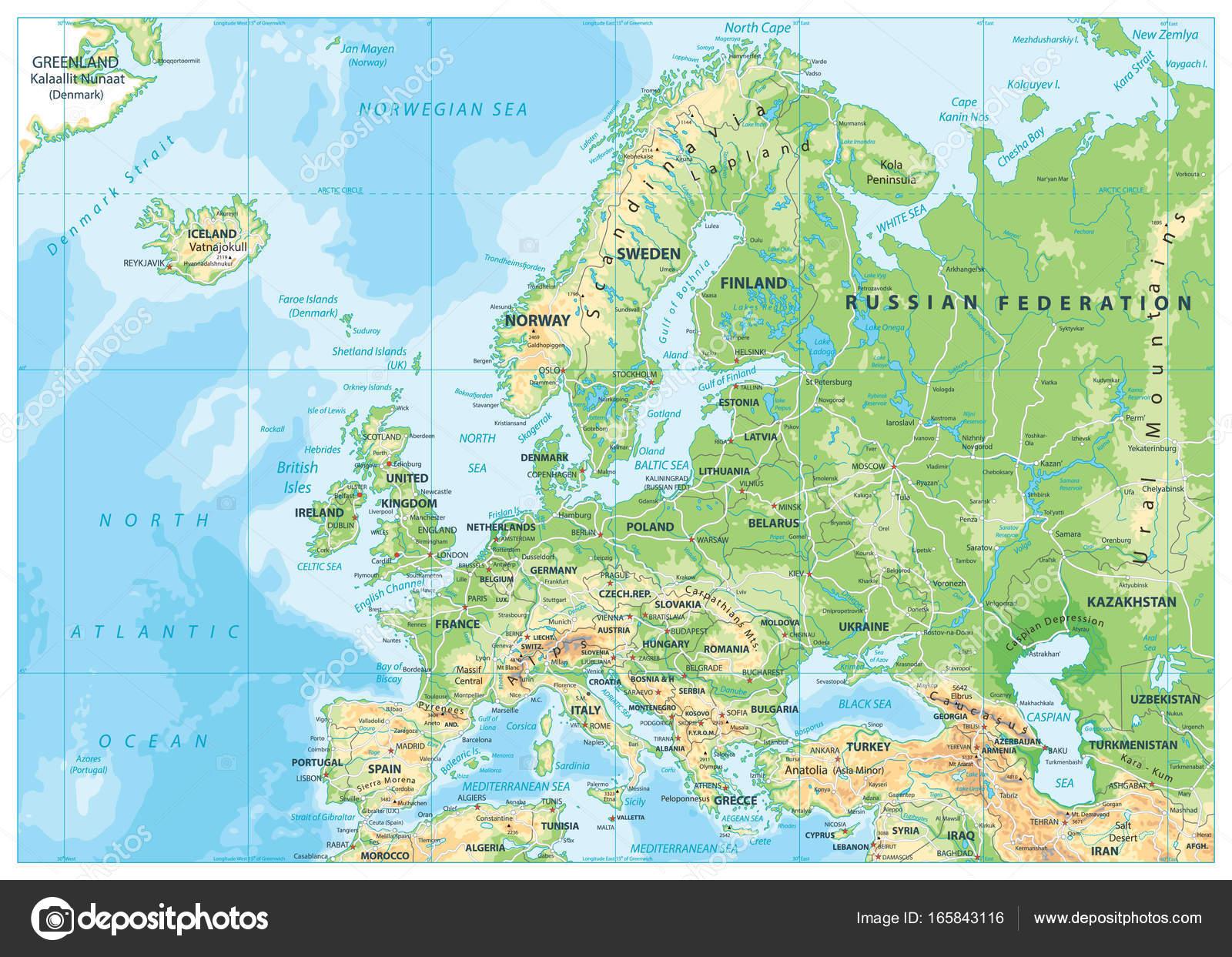 Europa Karte Physisch.Europa Physische Karte Stockvektor Cartarium 165843116
