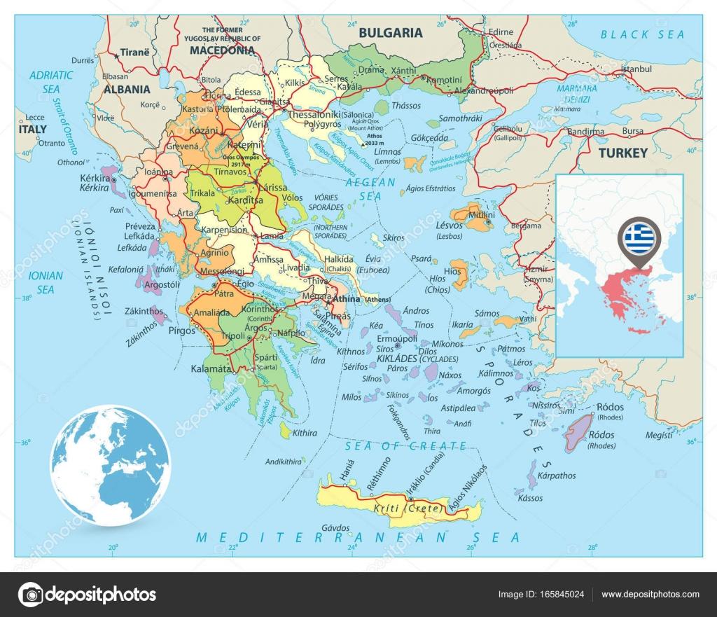 Mapa Politico De Grecia.Mapa Politico De Grecia Vector De Stock C Cartarium 165845024