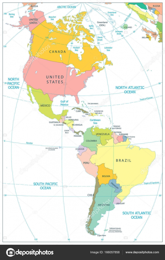 North and South America Political Map Isolated On White ...