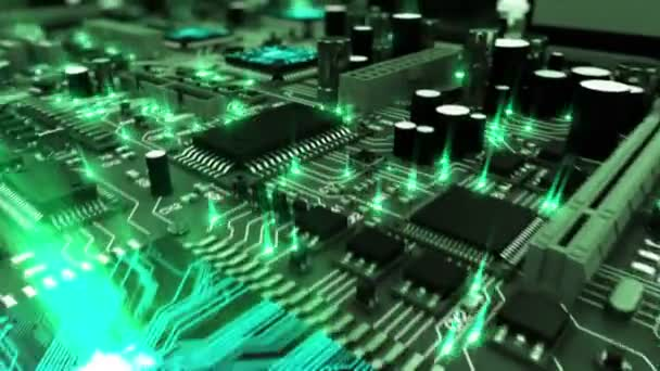Beautiful 3d animation of the Motherboard with Moving Green Flares and Working Processors in Close-up Seamless. DOF Blur. Looped Flight over the Circuit Board. HD 1080.
