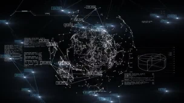 globales Geschäftsnetzwerk mit im Raum rotierenden Zahlen. 3D nahtlose Animation des Technologie-Konzepts. Schleife. 1080.