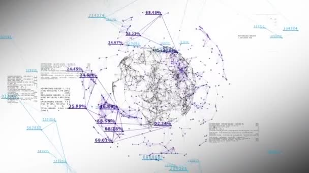 Globális üzleti hálózat számok és százalékok fehér. 3D animáció zökkenőmentes technológia koncepció. Végtelenített. HD 1080.