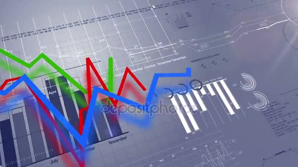 Beautiful 3d animation of the Growing Charts on Digital Blue Screen. Looped Business Concept. HD 1080.