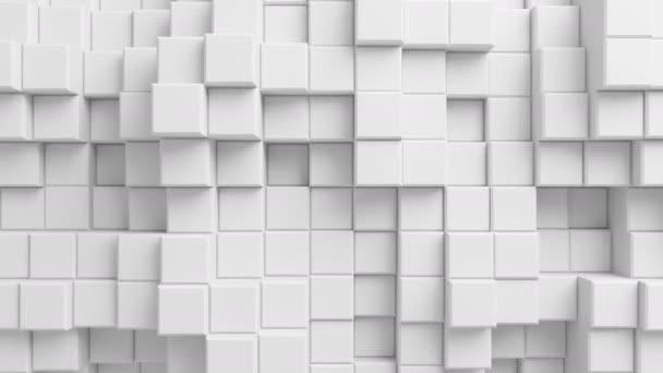 Krásné abstraktní kostky smyčkového 3d animace. Pohybující se bílé zdi. Bezešvé pozadí v rozlišení Ultra Hd 4 k 3840 x 2160.