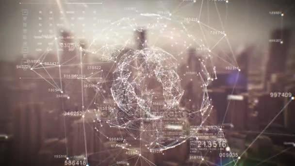 Krásné globální obchodní Hologram. Smyčky animace digitální sféry nad městem abstraktní. Podnikání a technologický koncept. Ultra Hd. 3840 x 2160.