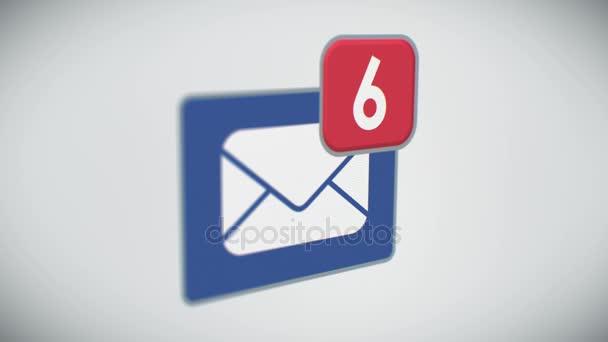 Krásný detail e-mailové schránky se zprávami počítání rychle. Mnoho dopisů v poštovní schránce. 3D animace. Perspektivní pohled s Dof rozostření. Podnikání a technologický koncept. 4 k Ultra Hd 3840 x 2160