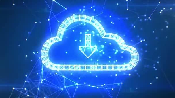 Cloud-Daten-Symbol, das in der Netzwerkwolke aus Linien und Punkten erscheint. Symbolbildung aus Teilchen. geloopte 3D-Animation. Schleife von 100 bis 500 Bildern. Geschäfts- und Technologiekonzept. 4k uhd 3840x2160.