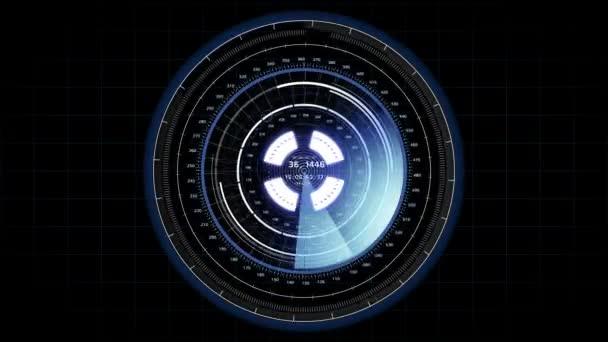 Gyönyörű futurisztikus Hud cél szkenner Radar forgatás. Head-up Display számítógépes adatok. High Tech koncepció elemet. Full Hd 1920 x 1080.