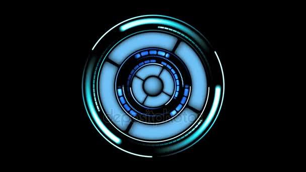 schöne futuristische hud mit Kreisen Rotation. Head-up-Anzeige von Computerdaten. Hightech-Konzeptelement. voll hd 1920x1080.
