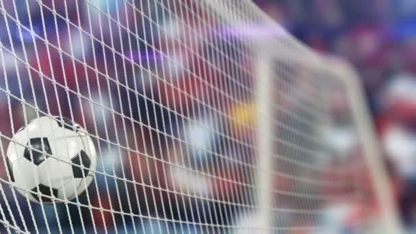 schöner Fußball fliegt in Zeitlupe ins Tornetz. Fußball 3D Animation des Tores Moment. 4k ultra hd 3840x2160.