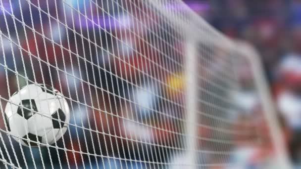Gyönyörű foci lassított fogalmának a labdát a cél nettó repülő. Rajongók fényképeztem villog. 3D animáció Sport koncepció közelről. 4k Uhd 3840 x 2160.