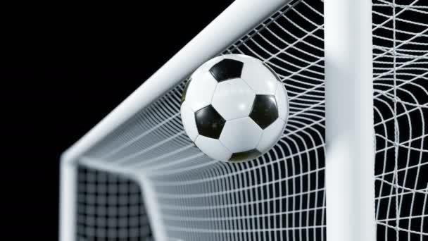 Fotbalový míč se odrazí od baru ve zpomaleném filmu. Krásný fotbal 3d animace koncepce. Alfa kanál zelené obrazovky. 4 k Ultra Hd 3840 x 2160.