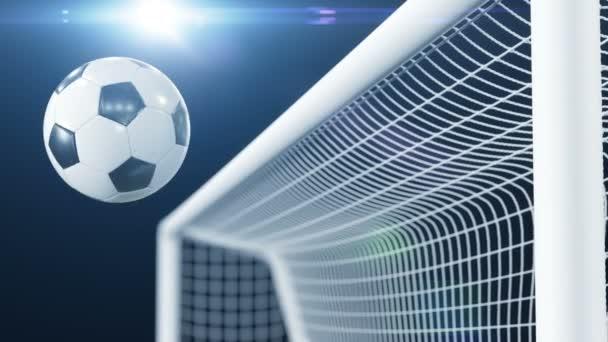 Fotbalový míč zasáhne Bar a bác bek ve zpomaleném filmu. Krásný fotbal 3d animace koncepce. 4 k Ultra Hd 3840 x 2160.