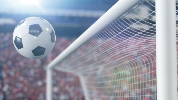Gyönyörű foci labda a bárban és pattog vissza a lassú mozgás. Labdarúgás 3d animáció fogalmát. 4 k Ultra Hd 3840 x 2160.