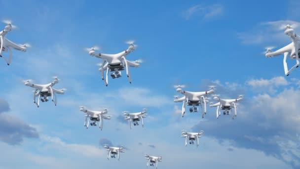 Mnoha Quadcopters létání v oblacích a natáčení kamerami. Smyčkového 3d animaci s zeleným plátnem a alfa masku. Rámce 92-195 jsou smyčky moci. Pojem moderní elektroniky. 4k Uhd 3840 x 2160