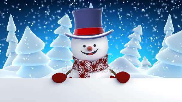 Legrační sněhulák v těmi nafoukanými univerzitními pozdrav s rukou a usmívá se. Krásné 3d Kreslená animace s zeleným plátnem. Animovaný pozdrav karty Veselé Vánoce a šťastný nový rok konceptu. Full Hd 1920 × 1080