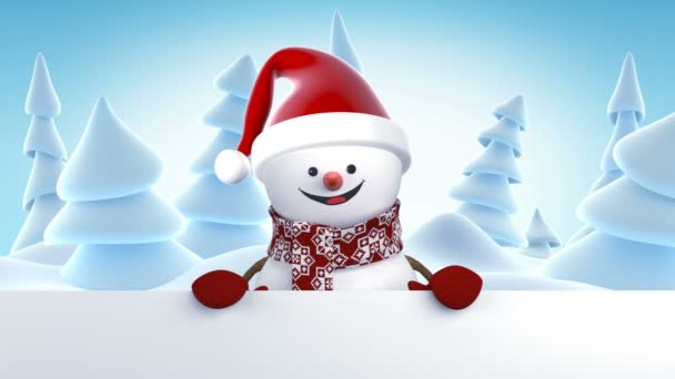 Funny snowman in santa claus cap greeting with hands and smiling funny snowman in santa claus cap greeting with hands and smiling beautiful 3d cartoon animation m4hsunfo Images