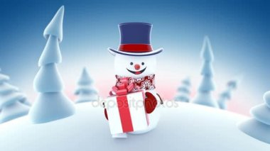 af723ddd5fefe Funny Snowman in High-hat Walking in Winter Forest Holding a Gift Smiling.  Beautiful