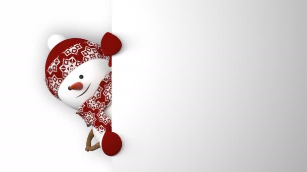 Lustiger Schneemann mit rotem Hut grüßt mit Händen und lächelt. schöne 3D-Zeichentrickanimation mit grünem Bildschirm. animierte Grußkarte. Frohe Weihnachten und ein gutes neues Jahr. 4k uhd 3840x2160.