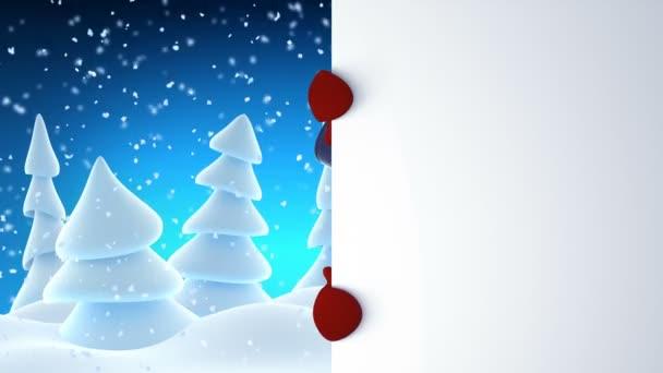 Legrační sněhulák v těmi nafoukanými univerzitními mávat a směje se na bílou tabuli. Krásné 3d Kreslená animace s zeleným plátnem. Animovaný pozdrav karty Veselé Vánoce a šťastný nový rok konceptu. Full Hd 1920 × 1080