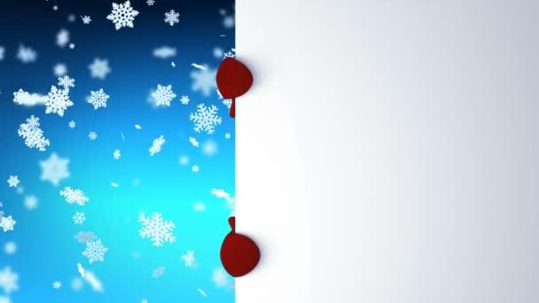 Vicces hóember, Mikulás sapka üdvözlés kézzel és mosolyogva. Gyönyörű 3d Karikatúra Élénkség-val zöld képernyő. Animált üdvözlőlapot kártya boldog karácsonyt és boldog új évet koncepció Full Hd 1920 x 1080