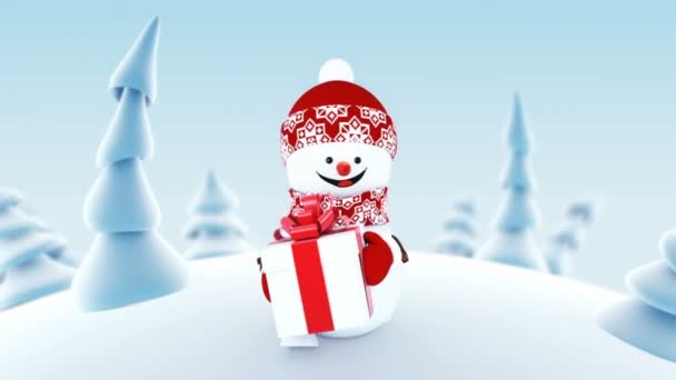 Legrační sněhulák v zimním lese drží současné Box s úsměvem. Krásné smyčkového 3d kreslené animace. Animovaný pozdrav karty Veselé Vánoce a šťastný nový rok konceptu. Full Hd 1920 × 1080.