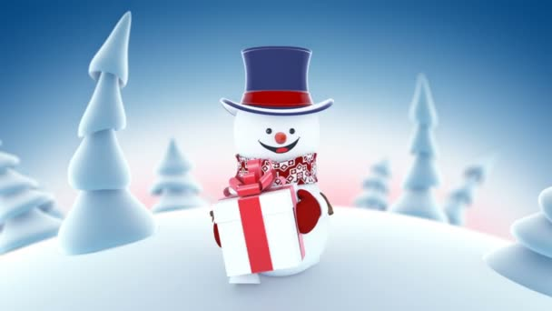 Funny Snowman in High-hat Walking in Winter Forest Holding a Gift Smiling. Beautiful Looped 3d Cartoon Animation. Animated Greeting Card. Merry Christmas and Happy New Year Concept. Full HD 1920x1080.