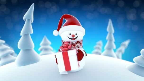 Funny snowman in santa claus cap walking in winter forest with a funny snowman in santa claus cap walking in winter forest with a gift beautiful looped 3d cartoon animation animated greeting card m4hsunfo