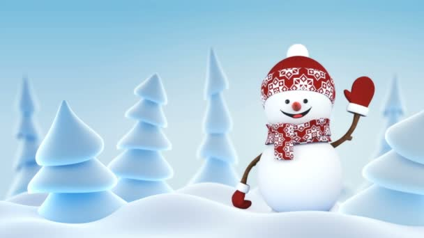 Funny Snowman in Red Hat Greeting with Hand and Smiling in Winter ...
