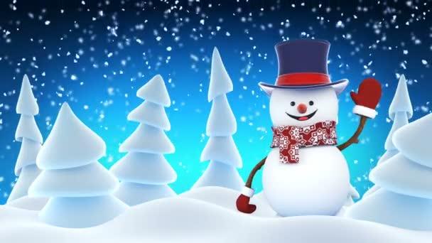 Legrační sněhulák nuanci hlasu, vystoupením mávat a usmívá se v zimním lese. Krásné smyčkového 3d kreslené animace. Animovaný pozdrav karty Veselé Vánoce a šťastný nový rok konceptu. Full Hd 1920 × 1080.