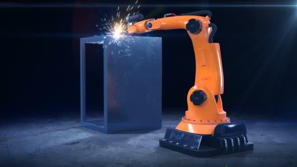 Robotické rameno svařování v dílně. Vysoká přesnost moderní nástroj v těžkém průmyslu. Automatická práce. Technologie a průmyslové koncepce. 4 k Ultra Hd 3840 x 2160