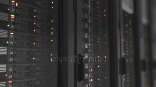 Villogó fények működő kiszolgálók közeli Modern adatközpont. Felhő kiszámítható adattárolásra. Nehéz 3d-leképezést. Végtelenített 3D-s animáció. 4 k Ultra Hd 3840 x 2160.