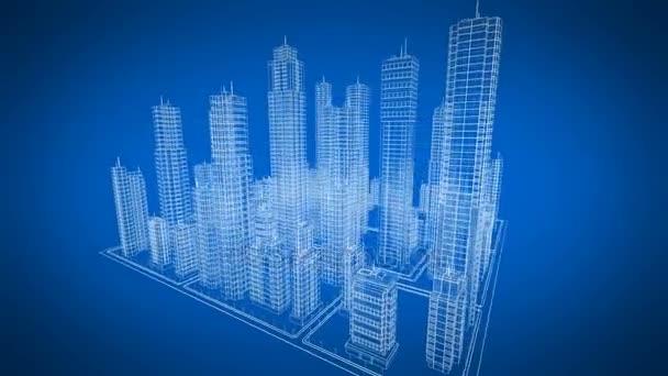 Krásné rotující Blueprint Contemporary budov. Modrá barva. Konstrukce a technologie konceptu. Smyčky 3d animace. 4k Uhd 3840 x 2160