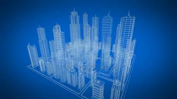 Blueprint 3d moderno contemporneo edificios girando en el espacio blueprint 3d moderno contemporneo edificios girando en el espacio 3d color azul construccin y malvernweather Image collections