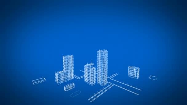 Létání nad rostoucí město. Krásné 3d Blueprint Contemporary budov. Modrá barva 3d animace. Konstrukce a technologie konceptu. 4 k Ultra Hd 3840 x 2160.
