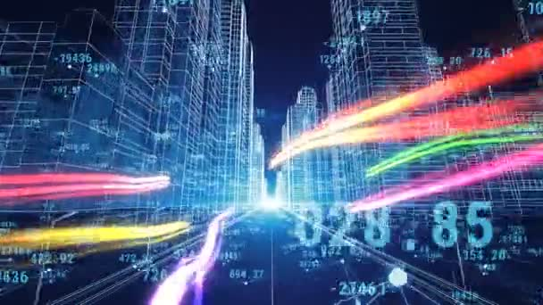 Beautiful digital world abstract digital city with numbers and grids flying through the 3d - Digital world hd ...