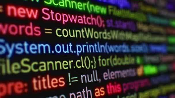Maschinensprache Laufen Auf Dem Datenbild Mit Dof Unschärfe. Helle Farben  Leuchtenden Software Programmierung Animation Design
