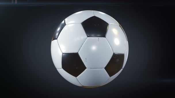 3 videók gyűjteménye. Gyönyörű futball-labda forgó lassítva a fekete is. Végtelenített labdarúgó fordult a labdát 3D-s animációk. 4 k Ultra Hd 3840 x 2160.