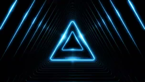 Schöne abstrakte Dreieck Tunnel mit blauem Licht Linien bewegen schnell. Satz von mehreren Video-Elementen. Hintergrund futuristische Tunnel mit Neonröhren. 3d Animation-Kunst-Konzept geloopt. 4 k Ultra Hd